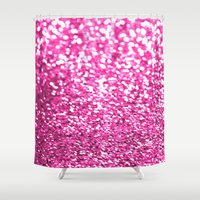 sparkles Shower Curtains featuring Pink sparkles by Hannah