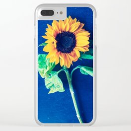 A decorative sunflower on the blue background Clear iPhone Case