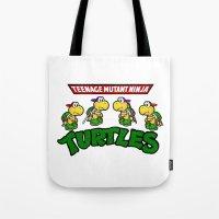 teenage mutant ninja turtles Tote Bags featuring Teenage Mutant Ninja Turtles Mario by tshirtsz