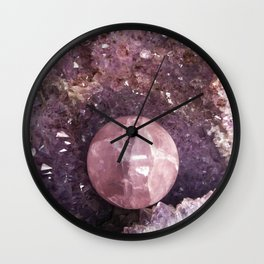 Amethyst and Pink Quartz Gemstone Wall Clock