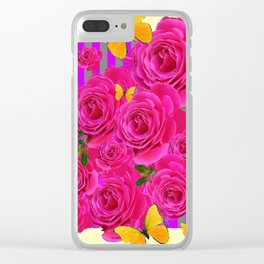 PINK GARDEN ROSES & YELLOW BUTTERFLIES MODERN ART FROM SOCIETY6   BY SHARLESART. Clear iPhone Case