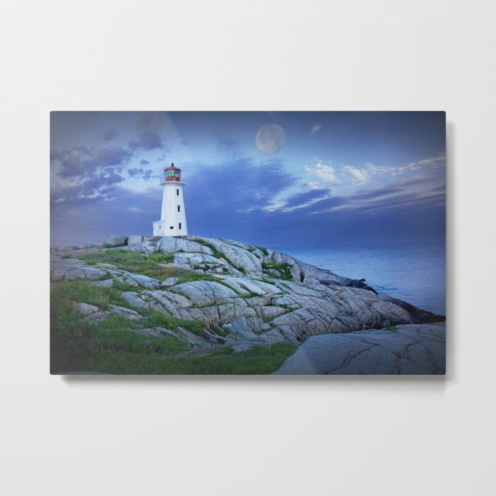 Lighthouse at Peggy's Cove in the Moonlight Metal Print