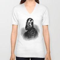 wrestling V-neck T-shirts featuring WRESTLING MASK 9 by DIVIDUS