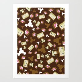 Cute Cartoon Blockimals Bear Art Print