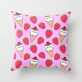 Cute funny sweet adorable little baby kitten ice cream cones with sprinkles and red ripe summer strawberries cartoon light pastel pink pattern design Throw Pillow