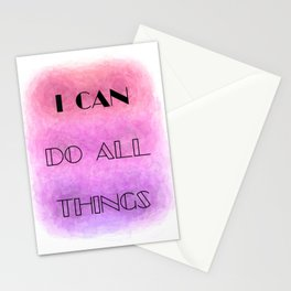 I Can (do all things) [black on shades of pink] Stationery Cards