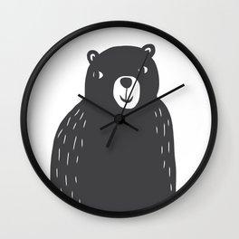 Bear Print – Charcoal and White by Tasha Johnson Wall Clock