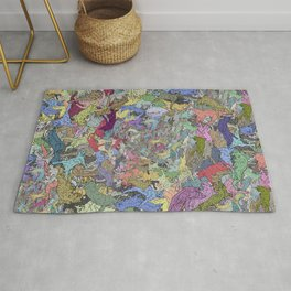 Colorful Flying Cats Rug