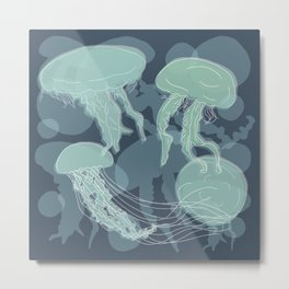 Jelly Fishes Metal Print