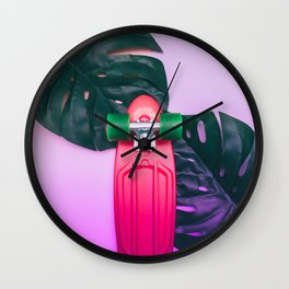 skateboard and palm leves Wall Clock