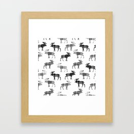 Moose Trot // Black & White Plaid Framed Art Print