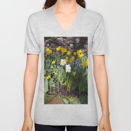 Yellow and White Daffodils Against a Rock Wall Unisex V-Neck