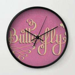 Butterfly Letttering Wall Clock