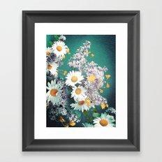 Retro Daisies and Jade Framed Art Print