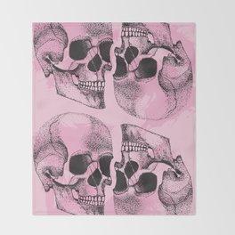 Rose Coloured Skulls Throw Blanket
