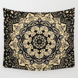 Mandala Indian Gold Spiritual Zen Bohemian Hippie Asian Yoga Mantra Meditation Wall Tapestry