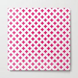 Hot Neon Pink Crosses on White Metal Print