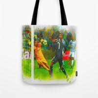 ronaldo Tote Bags featuring Cristiano Ronaldo - Job Done by Don Kuing