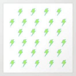 Bolt- Lime Green Art Print