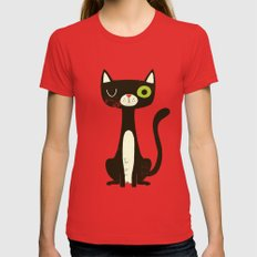Black Cat MEDIUM Womens Fitted Tee Red