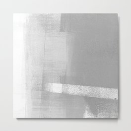 Grey and White Geometric Abstract Metal Print