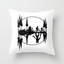 Upside down, Steve and the gang on bicycles, Stranger thing gift Throw Pillow