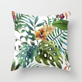 Tropical Floral Pattern 03 Throw Pillow