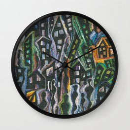 City in Silhouette Wall Clock