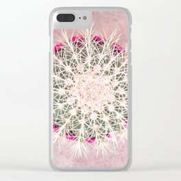 Cactus mandala - blush concrete Clear iPhone Case
