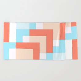 Squares Salmon Beach Towel