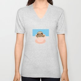 Sloth in a Pink cup coffee, tea, Three-toed sloth Unisex V-Neck