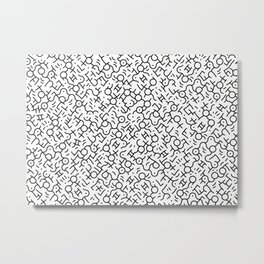 Contemporary Street Art Keith Haring Pattern Geometric Black Metal Print
