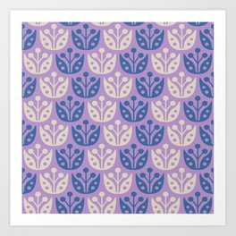 Mid Century Modern Flower Pattern Lavender and Blue 112 Art Print