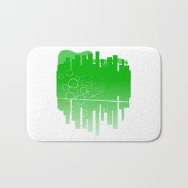 Abstract Green Guitar City Bath Mat
