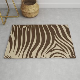 Zebra Stripes | Animal Print | Chocolate Brown and Beige | Rug