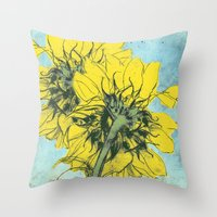 alisa burke Throw Pillows featuring The sunflowers moment by anipani