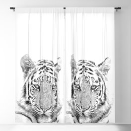 Black and white tiger Blackout Curtain