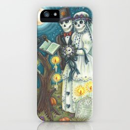 CEMETERY NUPTIALS - Susan Brack Skeleton Halloween Wedding iPhone Case