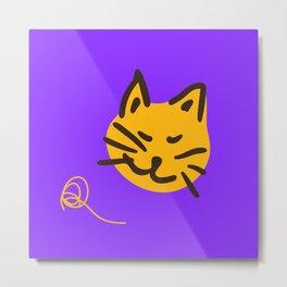 Miau Purple Metal Print