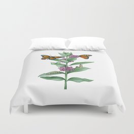 Monarch Butterfly Life Cycle Duvet Cover