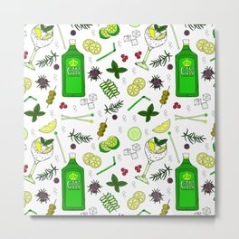 Colourful Gin Drinker Cocktail Bar Pattern Metal Print