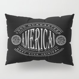 100% American (white badge on black) Pillow Sham