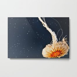 Orange Jellyfish Metal Print