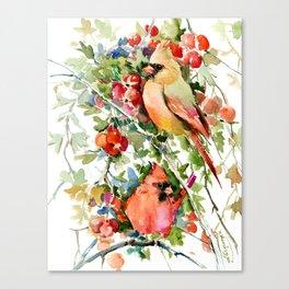 Cardinal Birds and Hawthorn, Cardinal Bird Christmas Design art floral bird decor Canvas Print
