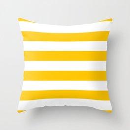 Aspen Gold Yellow and White Wide Horizontal Cabana Tent Stripe Throw Pillow
