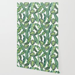 Jungle Leaves, Banana, Monstera II #society6 Wallpaper