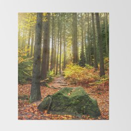 Path Through The Trees - Landscape Nature Photography Throw Blanket