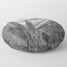 Garden of the Gods - Colorado Springs Landscape in Black and White Floor Pillow