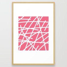 Abstract Criss Cross White Strokes on Pink Background Framed Art Print