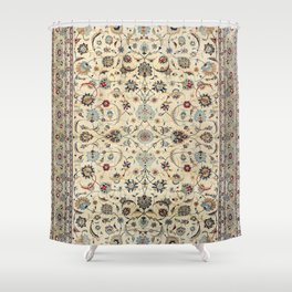 Persian Kashan Old Century Authentic Colorful Dusty Baby Blue Vintage Rug Pattern Shower Curtain
